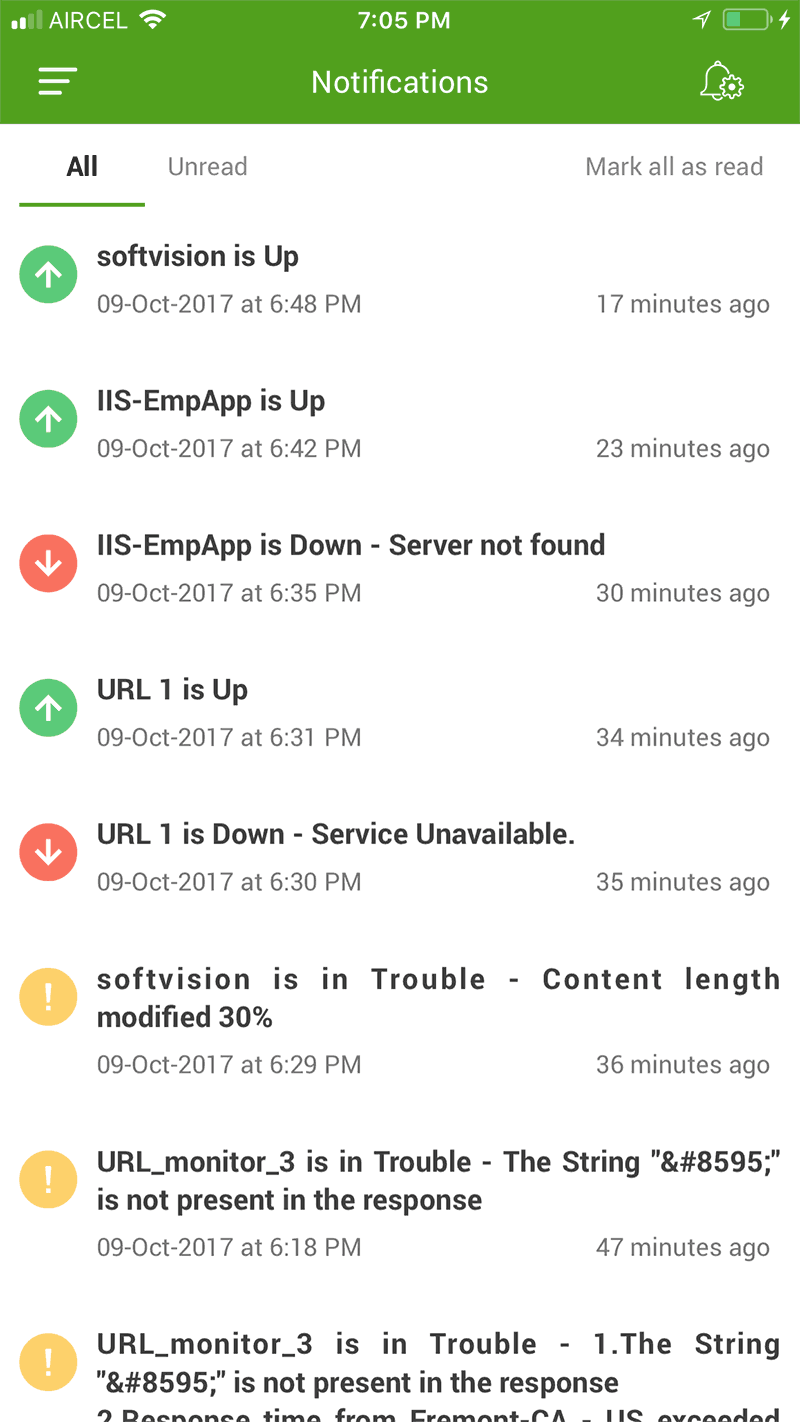 mobile app resource current status screen